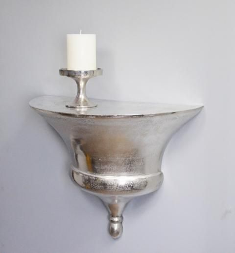Wandkonsole Aluminium Silber Massiv