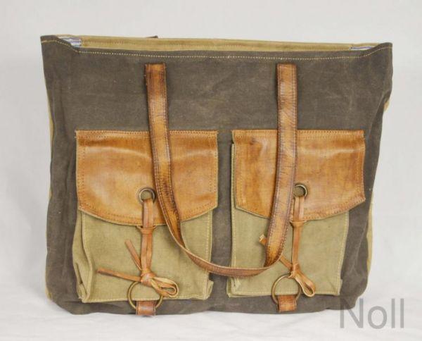 Handtasche Canvas mit Lederapplikationen 2 Außentaschen