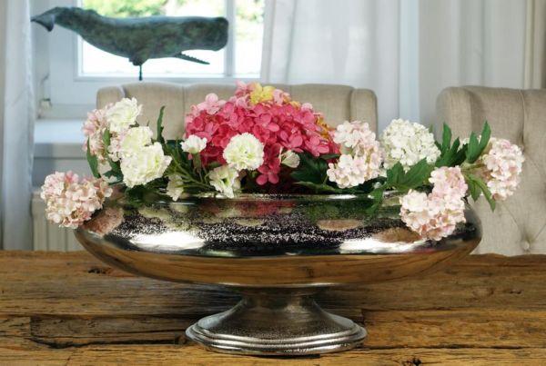 Vase Oval Aluminium Silber XXL 50 cm