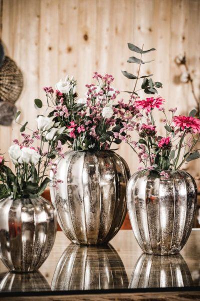 Vase Silber Rund aus Metall