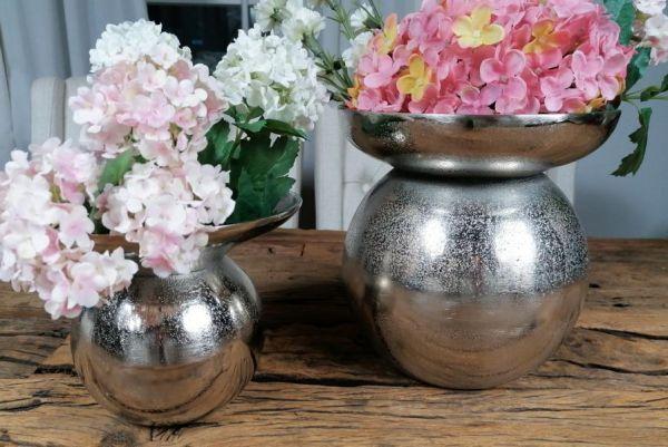 Vase 2er Set Silber 19 / 21 cm
