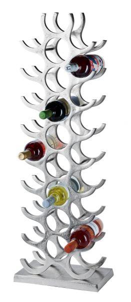 Weinregal Flaschenregal Silber aus Metall Groß 27 Flaschen