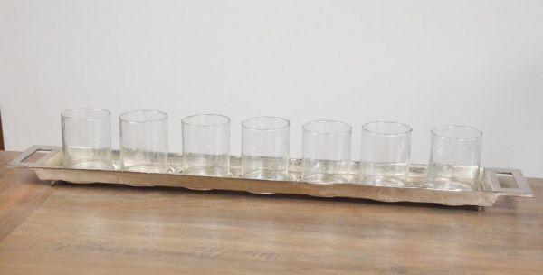 Tablett Aluminium 7 Teelichtgläser Colmore Silber