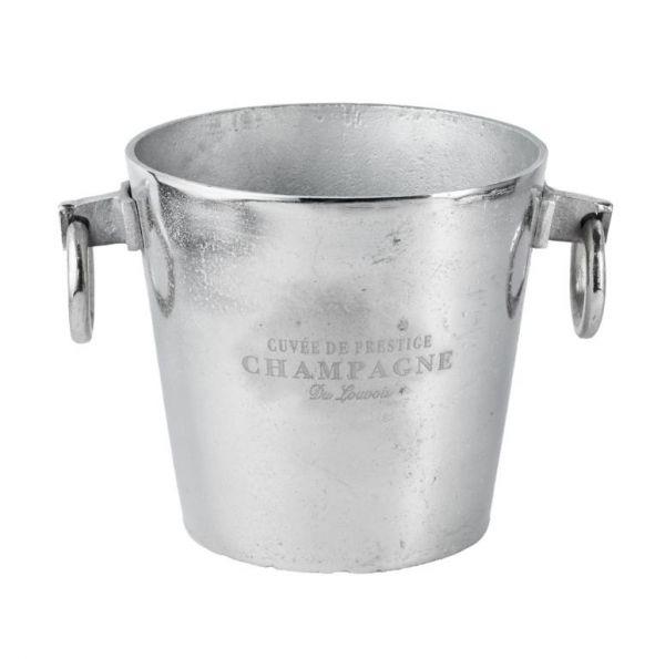 Flaschenkühler / Champagnerkühler Silber aus Metall mit 2 Henkeln