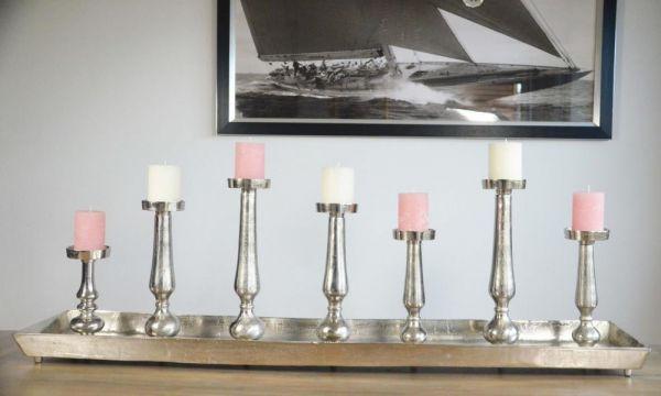 Kerzenständer XXL Aluminium Colmore Silber