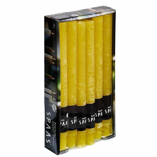 Stabkerze Rustic 12er Pack Gelb