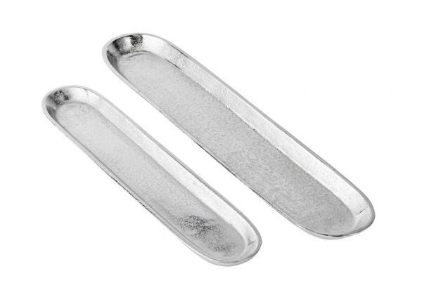 Schale länglich in der Farbe Silber aus Metall