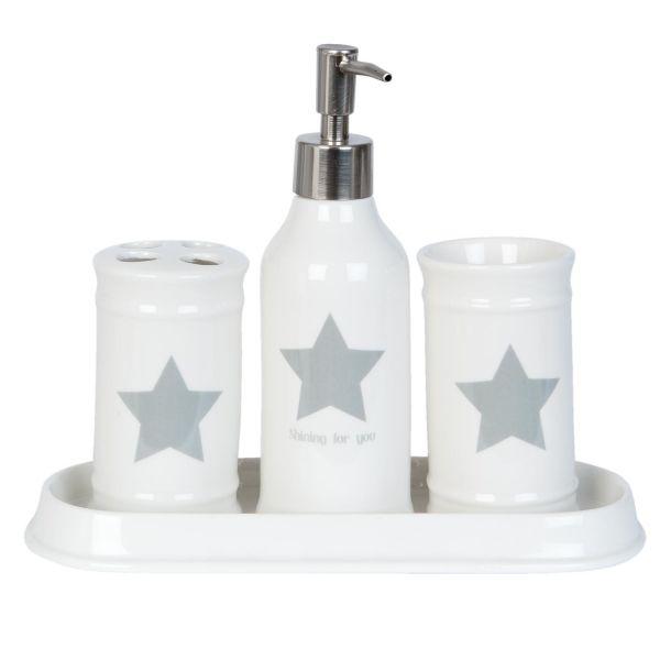 Badset Clayre & Eef Weiß Stern Keramik Weiß