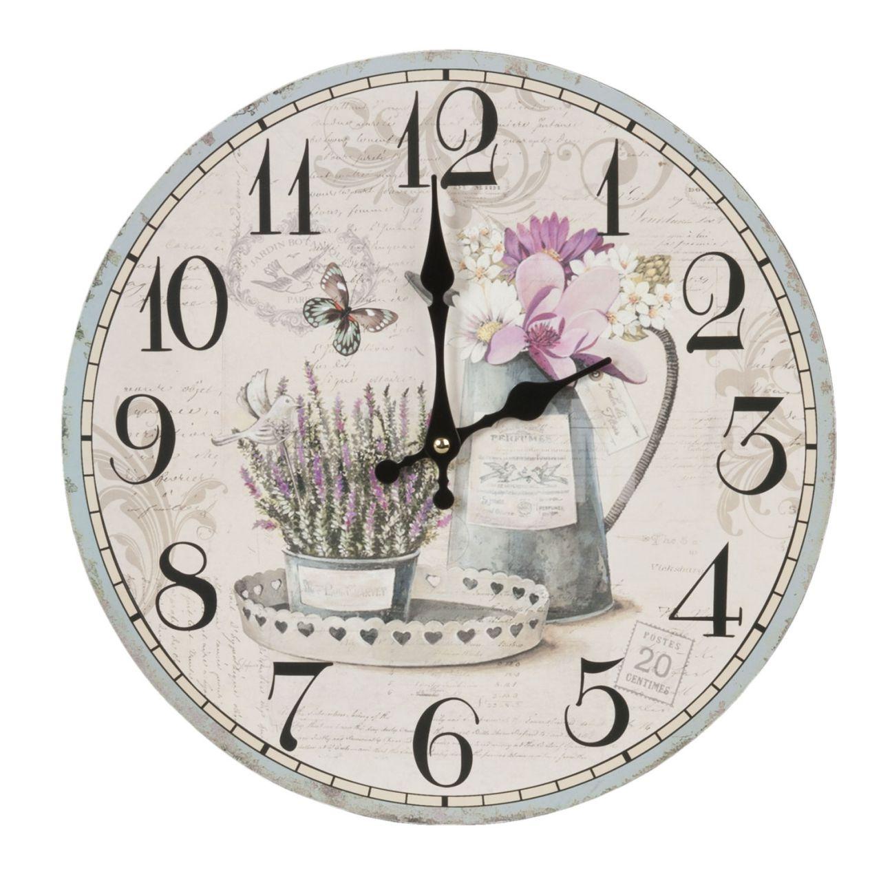 Wanduhr Lavendel Schmetterling Clayre & Eef