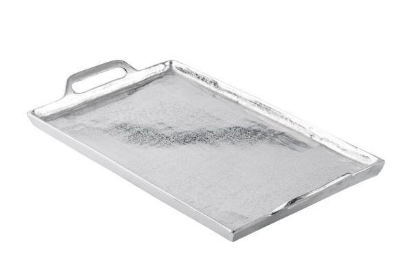 Tablett Rechteckig mit Griffen Silber Metall