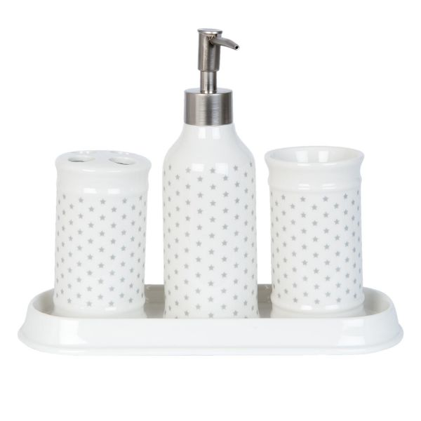 Badset Weiß Kleine Sterne Clayre & Eef Keramik