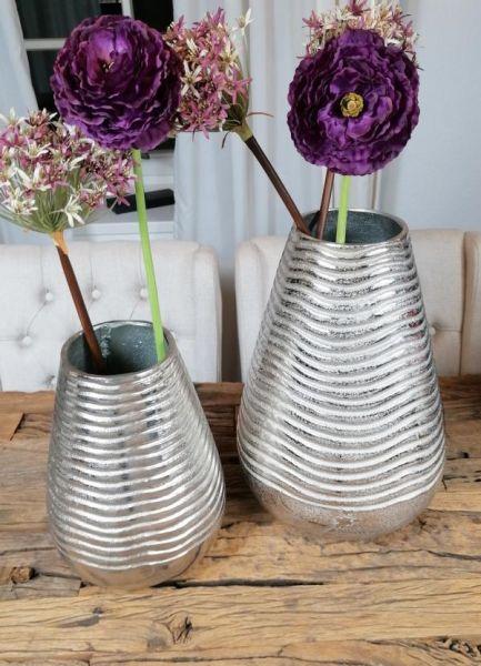 Vase XL Rund Silber 32 cm / 43 cm