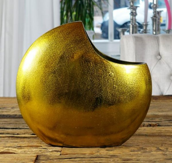 Vase Aluminium Gold H 28 cm