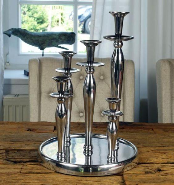 Kerzenständer 5-Armig Silber Poliert