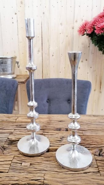 Kerzenständer Stabkerze Silber 2er Set