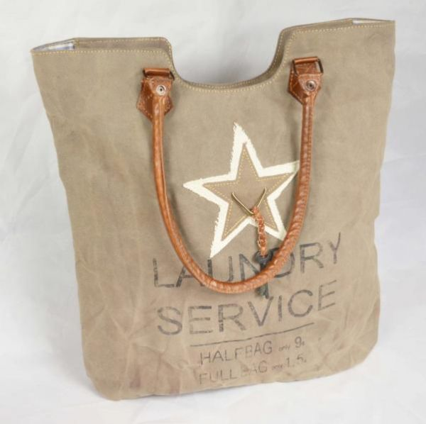 Handtasche Lederapplikationen Colmore Shopper Canvas Stern Star
