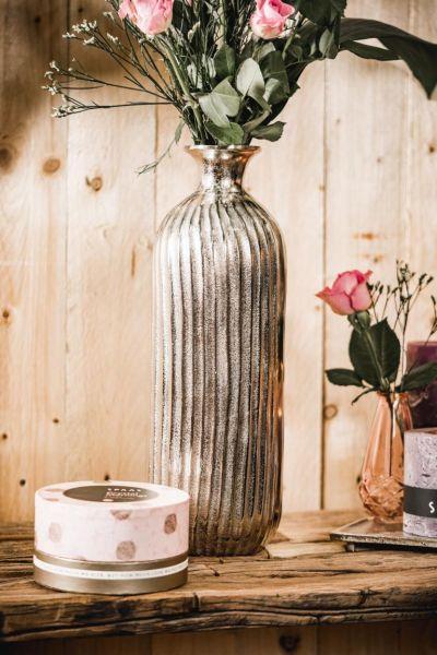 Runde Vase in Silber aus Metall
