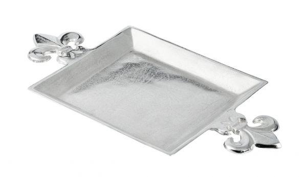 Schale Tablett Lilie Silber aus Metall