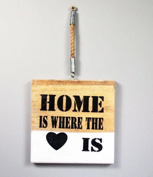 Wandbild Landhaus Schild Home is where the Heart is Holz