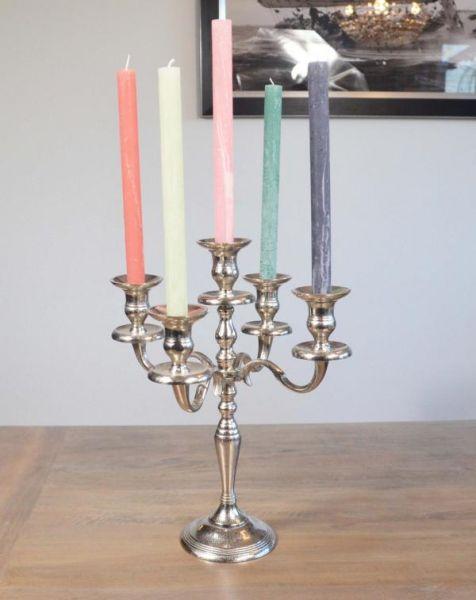 Kerzenständer 5-armig Aluminium Silber