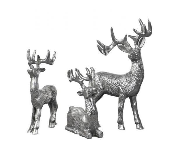 Hirsche 3er Set Aluminium Silber
