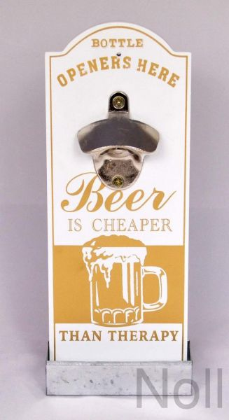 Wandflaschenöffner Kronkorkenbehälter Beer