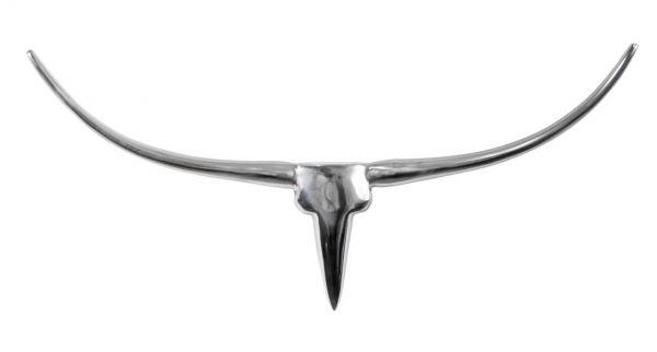 Stierkopf Aluminium Silber Deko XL 73 cm