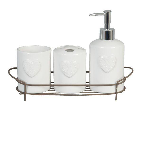 Badset Weiß Clayre & Eef Keramik Herz