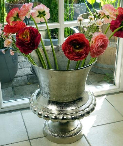 Vase Aluminium Silber XXL 47 cm