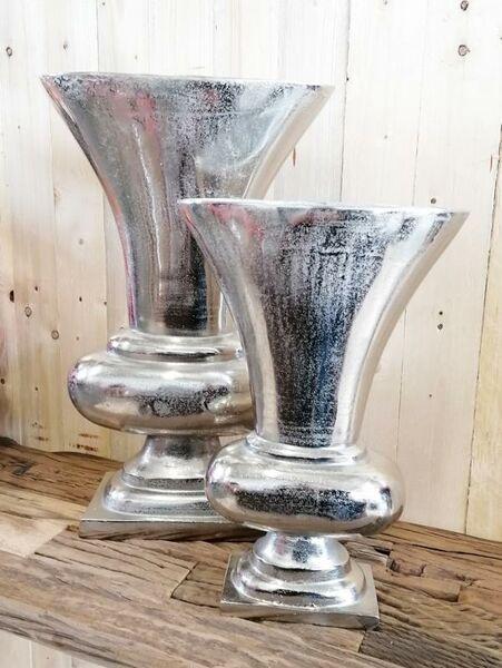 Vase Silber Pokalvase 44 cm / 59,5 cm