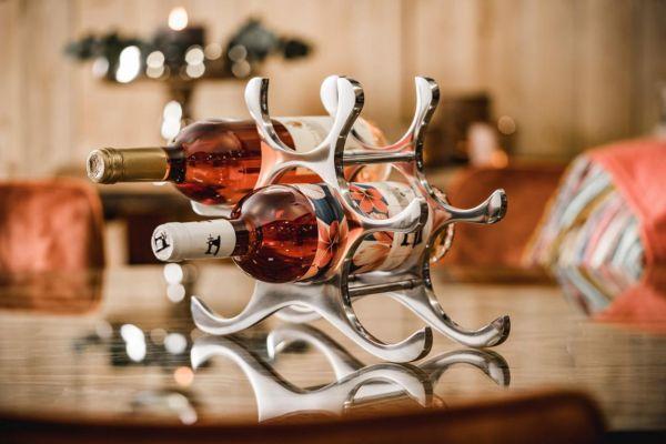 Weinregal Flaschenregal Silber aus Metall 6 Flaschen