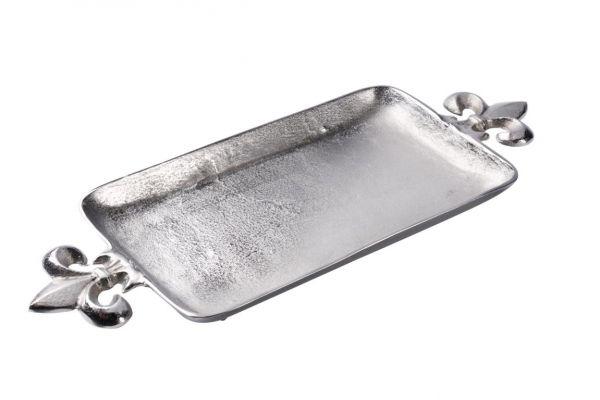 Tablett Silber Lilie Metall