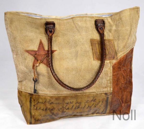Handtasche Canvas mit Lederapplikationen Stern