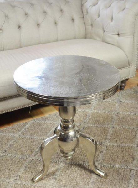 Couchtisch Colmore Beistelltisch Aluminium Silber Massiv
